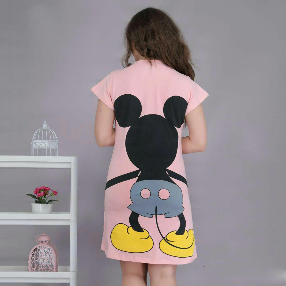 Short Dress With Mickey Print