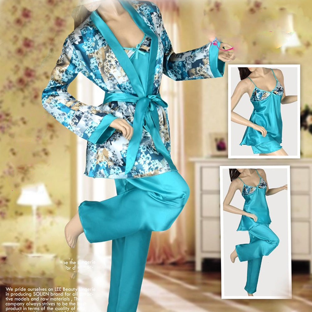 Flowers Pajama Set With Robe
