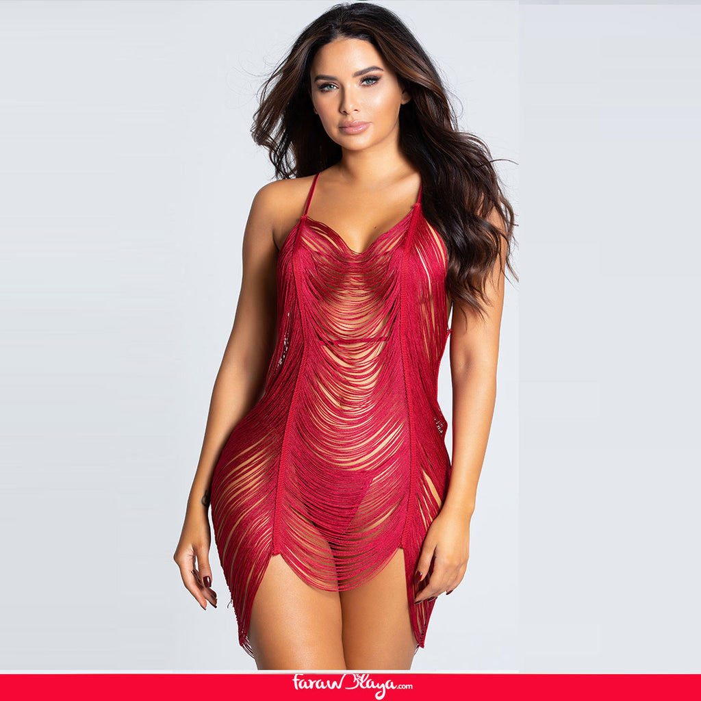 FRINGED BEAUTY CHEMISE SET