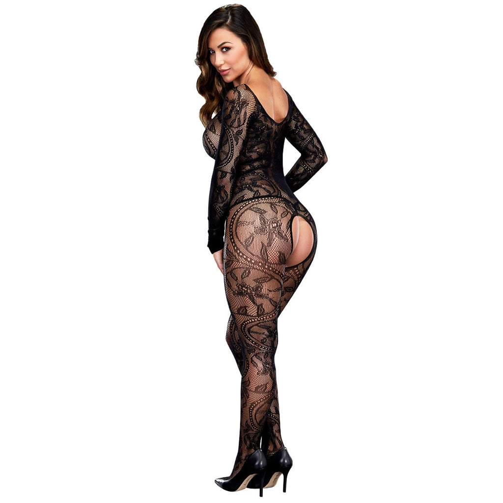 SWIRLING FLORAL LACE BODYSTOCKING