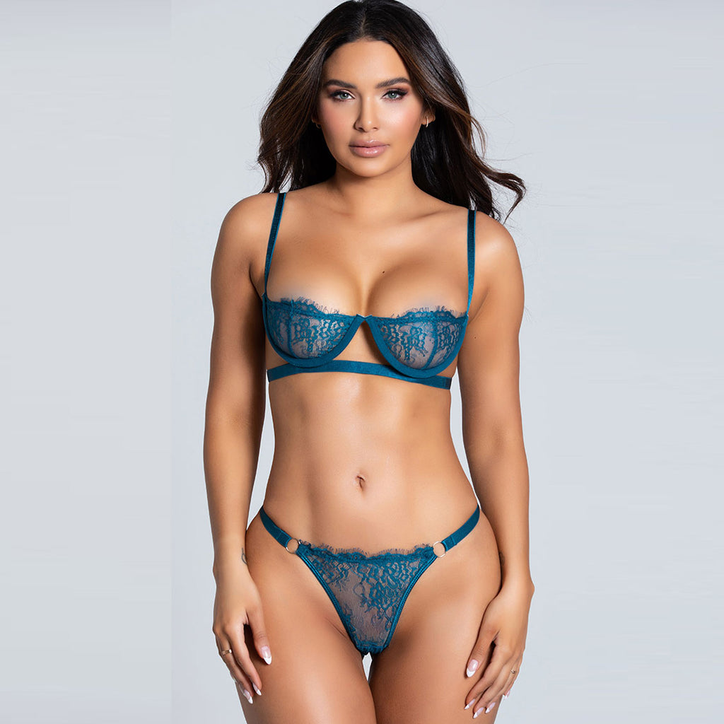 High Quality Beautiful Lingerie Lace Bra Set With Steel ring