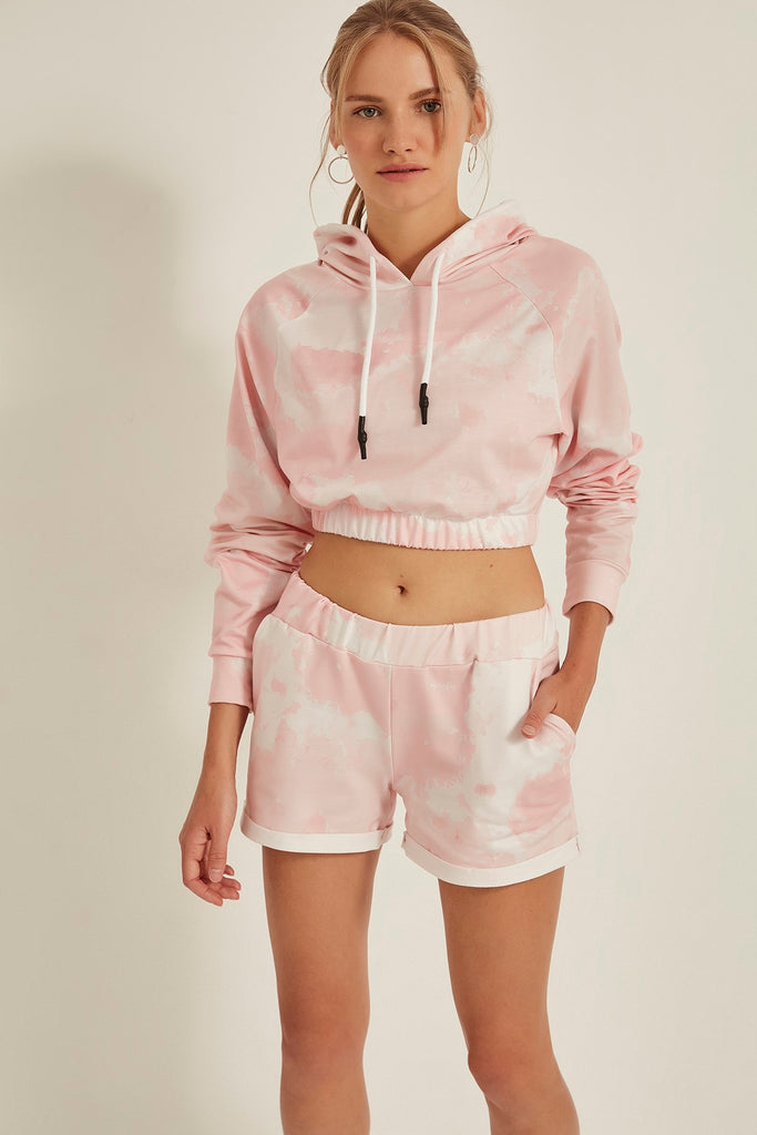 Women Velvet Hoodie Crop Sweat& Sweatshort