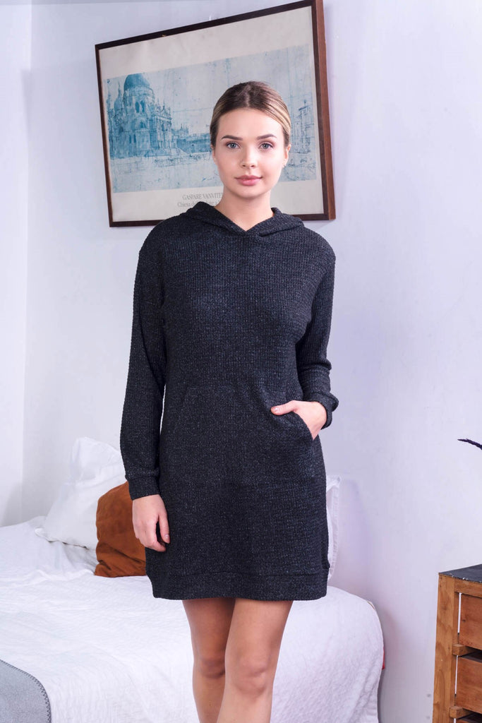 Women Knitted Hooded Sweat Tunic