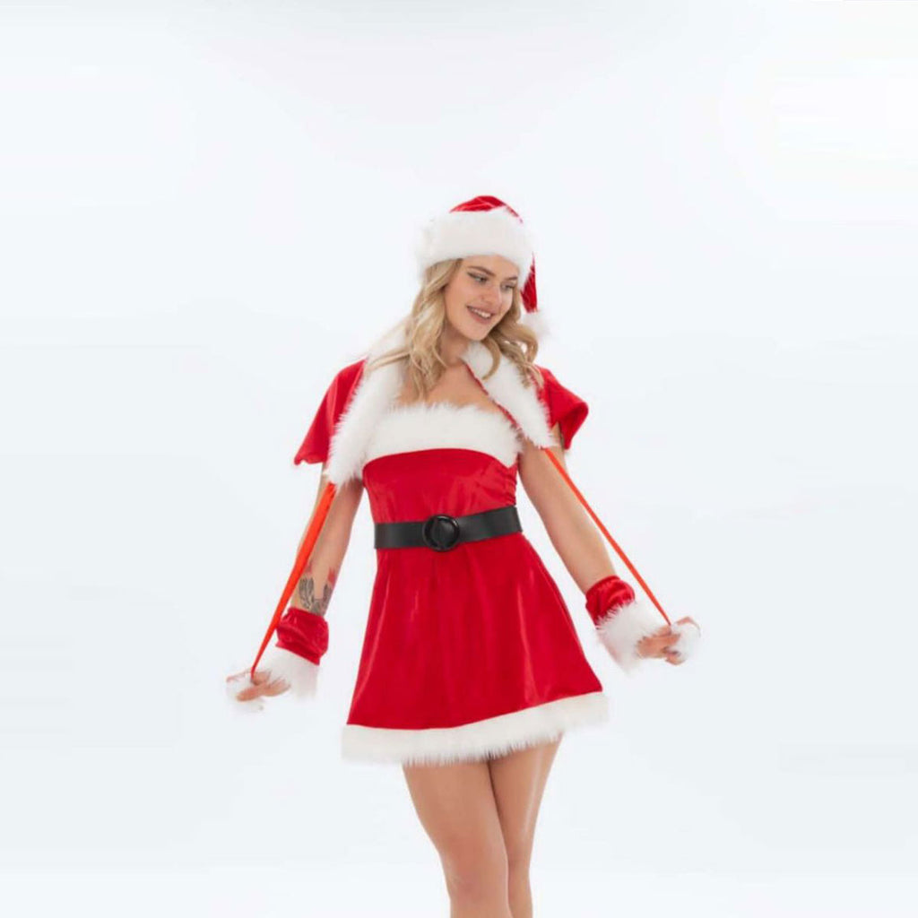 Christmas Santa Claus girl isolated on white background