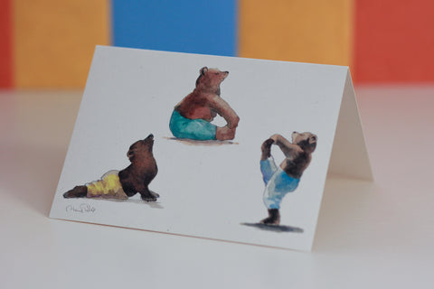 Bears Yoga Greeting Card