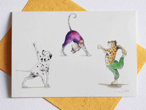 Yoga Greeting Card Cat and friends