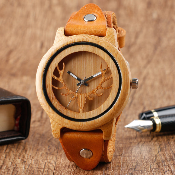Steampunk Design Wood Watches Men's Moose Deer Elk Face Bamboo Wrist Watch Male Genine Leather Quartz Watch Reloj de madera