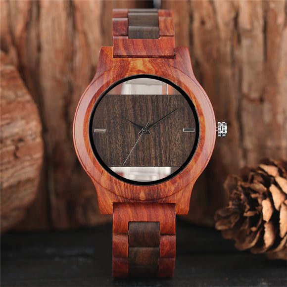 Luxury Stylish Wooden Watch Sandal Wood Case Bracelet Clasp Novelty Skeleton Men Women Quartz Wristwatch relogio masculino 2017