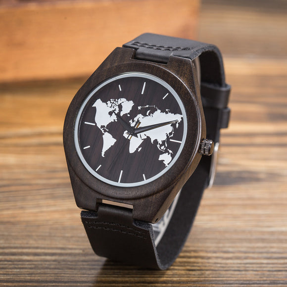 New World Map Mens Genuine Leather Quartz Watch Wood Bamboo Male Wrist Watch Luxury Brand Reloj de Madera Genuine with Gift Box