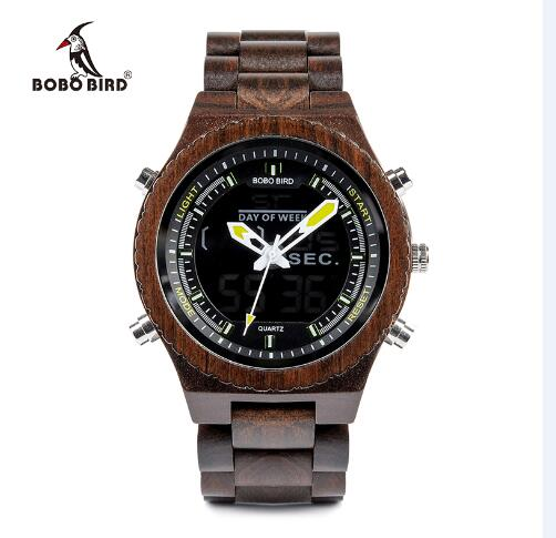 BOBO BIRD Round Wooden Men's watches Quartz Wristwatch show date With Full Wood Bands Adjustable gifts custom logo saat erkek