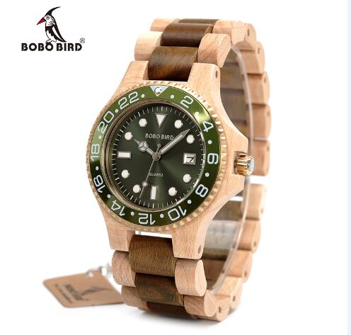 BOBO BIRD Men's Wooden Watch with All Wood Strap Quartz Analog with Diamond relojes hombre gifts in wood box, custom logo