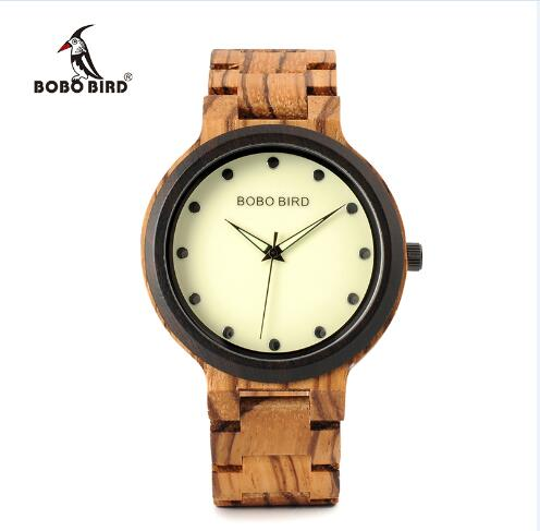 BOBO BIRD Men bamboo Wooden Watch Luminous Dial Wrist Watches With Wood Links In Gift Watch Box relojes hombre custom logo