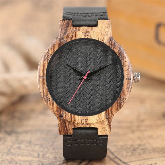 Folk Style Bamboo Watch Handmade Scrub Weave Dial Leather Band Men Women Quartz Wristwatch Nature Concise Clock Hour relogio