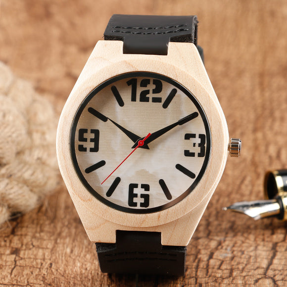 Fashion Top Brand Woman Wrist Watch Man Marble Pattern Face Nature Wood Bamboo Black Leather Strap Relogios Masculino Esportivo