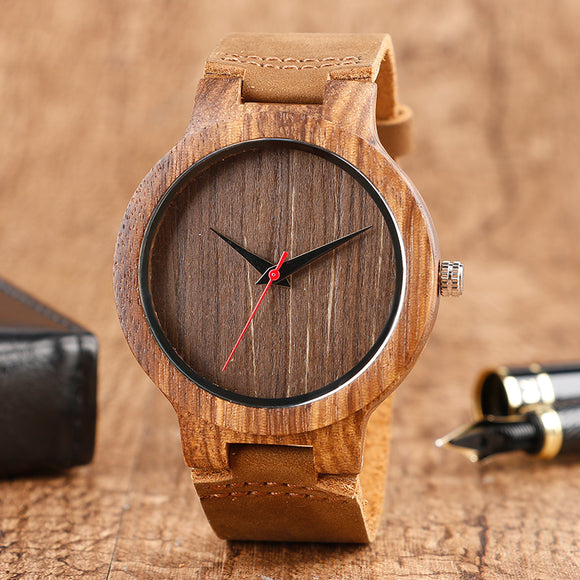 Wooden Watch Quartz Creative Wood Handmade Gift  Men Bamboo Sport Genuine Leather Band Strap Analog Reloj de madera