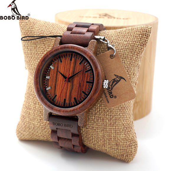 BOBO BIRD Ebony Wooden Quartz Watches Mens Top Brand Luxury Full Wood Band clock in Gift Box relogio masculino custom logo