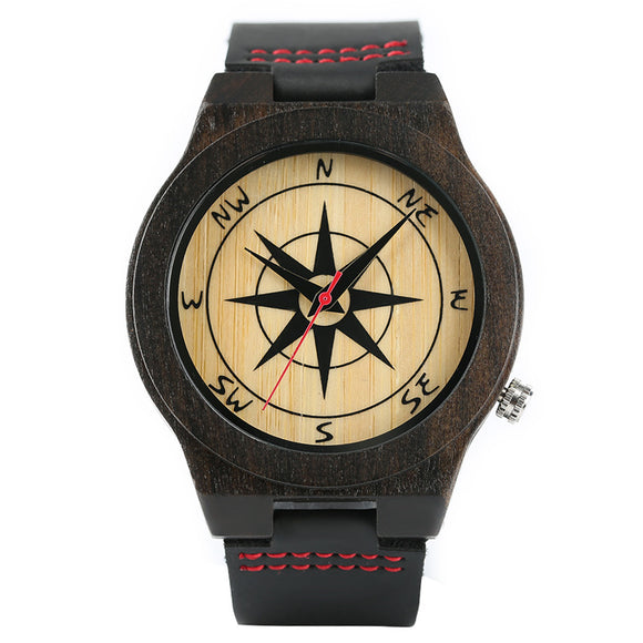 Dark Tone Men Watches Sandalwood Compass Pattern Dial Modern Nature Wooden Wristwatche Soft Real Leather Band Sport Bamboo Clock
