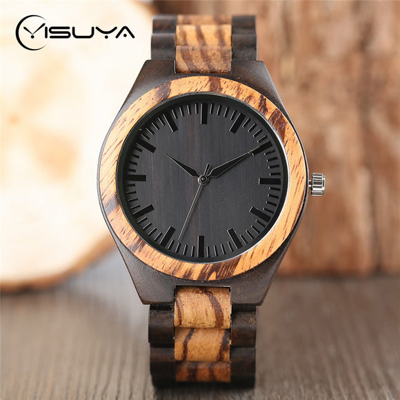 YISUYA Luxury Wooden Watches for Men Vintage Analog Quartz Handmade Walnut Zebra Bamboo Wood Band Wristwatch Clock Gifts Reloj