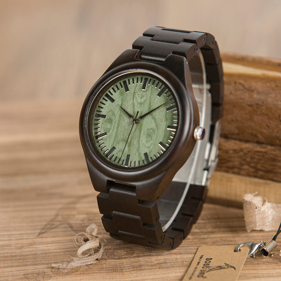 BOBO BIRD Wood Watch Quartz Movement Ebony Wooden Strap Men Wristwatch Accept Logo Customize B-H03