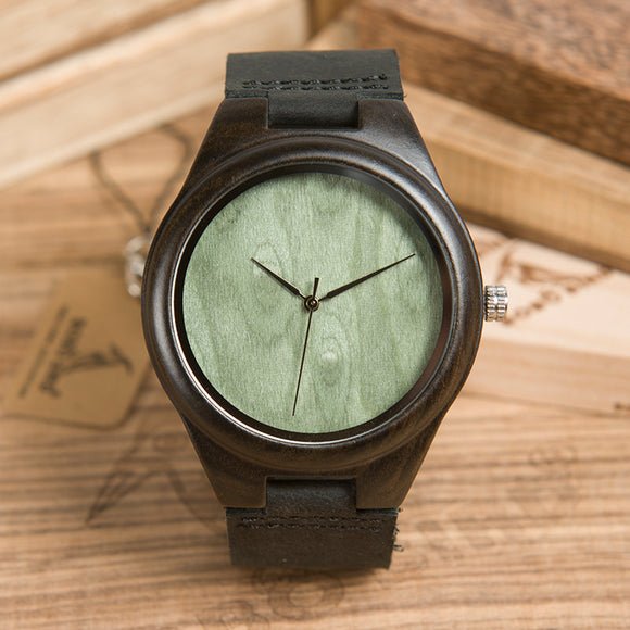 BOBO BIRD Simple Style Wood Watch for Men Green Dial Quartz Genuine Leather Wristwatch Logo Customize B-F04