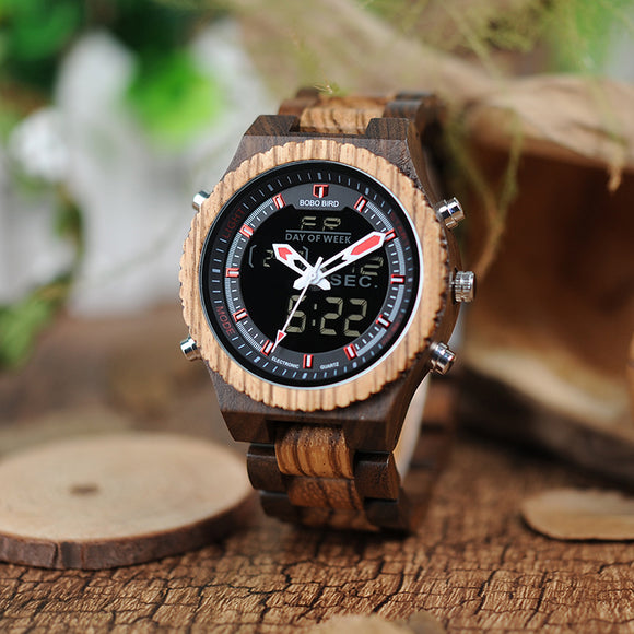 BOBO BIRD zebra wooden watches men quartz wristwatch male show date in wood box custom logo saat erkek