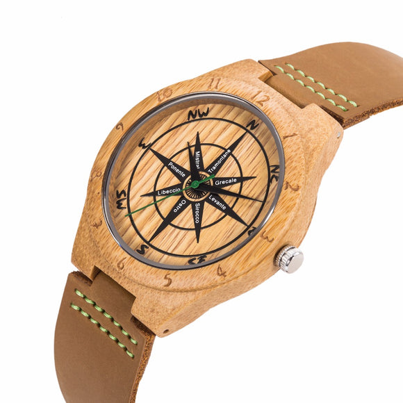 Mens UWOOD Luxury Quartz Watch Casual Bamboo Wood Watch World Map Compass Casual Fashion Wood Bamboo Watch