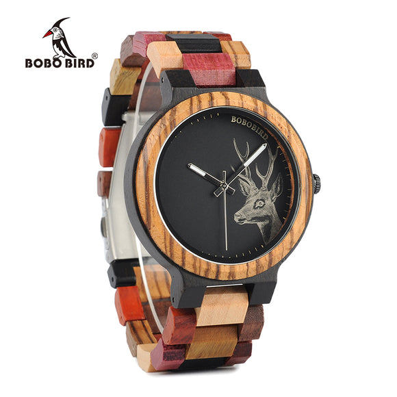 BOBO BIRD New Arrivals Bamboo Wooden Watches Men Elk Wrist Watch Deer Quartz Clock male Gift in Wood Box