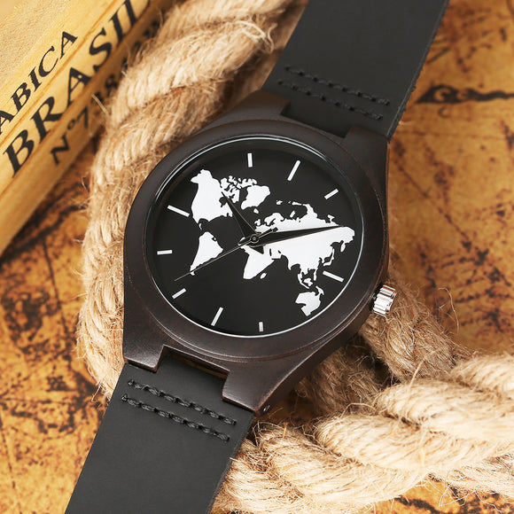 World Map Watches Men's Natural Wood Watch Minimalist Worldwide Tour Men Quartz Genuine Leather Band Clock Casual 2018