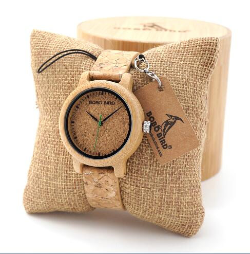 BOBO BIRD Bamboo Women Watches Men Quartz Wooden Wristwatch For Ladies in gifts box erkek kol saati Customize logo