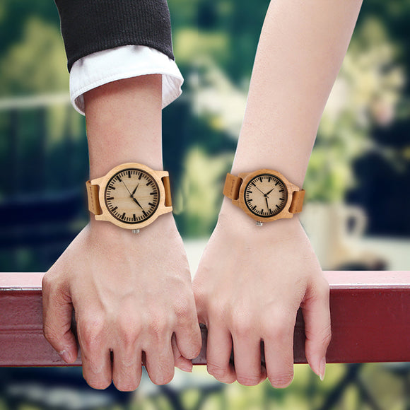 Creative Nature Wooden Watch Men Women Genuine Leather Band Bamboo Bangle Wristwatches Couple Watch Gift