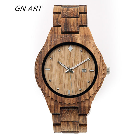 Mens Watch 2018 customize fashionable wooden Quartz wrist watches for man and woman relogio masculino Handmade wooden watch