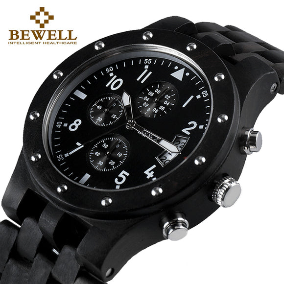 BEWELL Luxury Brand Men Wood Watch Man Waterproof Watches Men's Chronograph Analog Digital Quartz Clock Relogio Masculino 109D