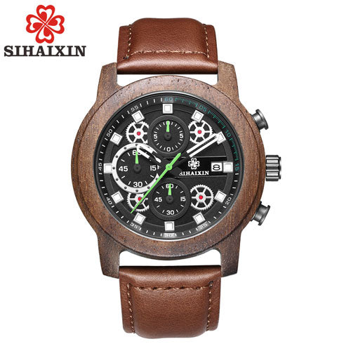 SIHAIXIN Wood Watch Men 2018 Waterproof Chronograph Wrist Watch Man Top Brand Luxury Quartz Male Clock Genuine Leather Strap