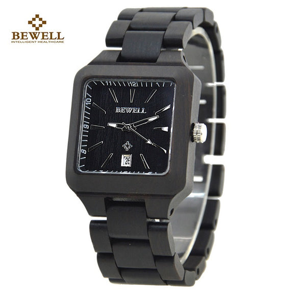 BEWELL 110A Wood watch Men Relogio Mens Watches Top Brand Luxury Men Simple Role Luxury Watch Men Analog-Digital Wristwatches