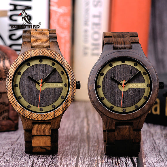 BOBO BIRD New Arrivals Wooden Watches Men Quartz Wrist watch Gift for Male Friend in wood box saat erkek clock Customize logo