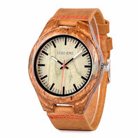 BOBO BIRD L-Q05 Watch Zebrawood Quartz Men Watches Custom Logo