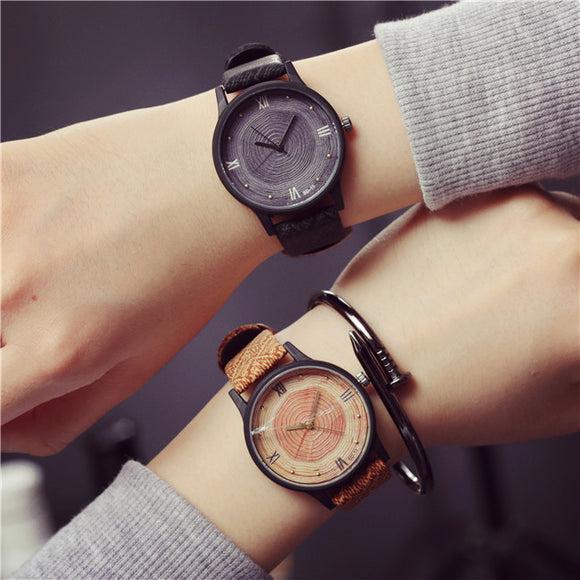 Watch Men 2018 Casual Luxury Brand Wood Retro Men Watch Vintage Leather Quartz Clock Woman Fashion Wooden Wristwatch Reloj Mujer