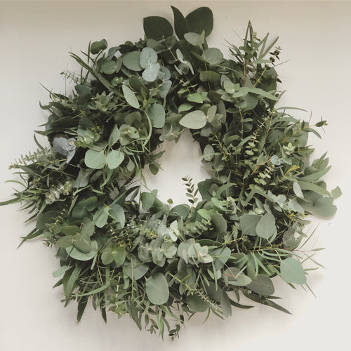 MIXED EUCALYPTUS EVERLASTING WREATH
