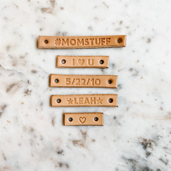 monograms tags showing the available character options
