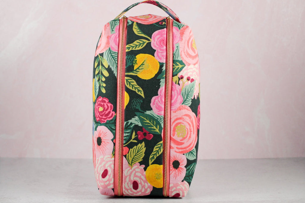 floral double zip toiletry case standing on end