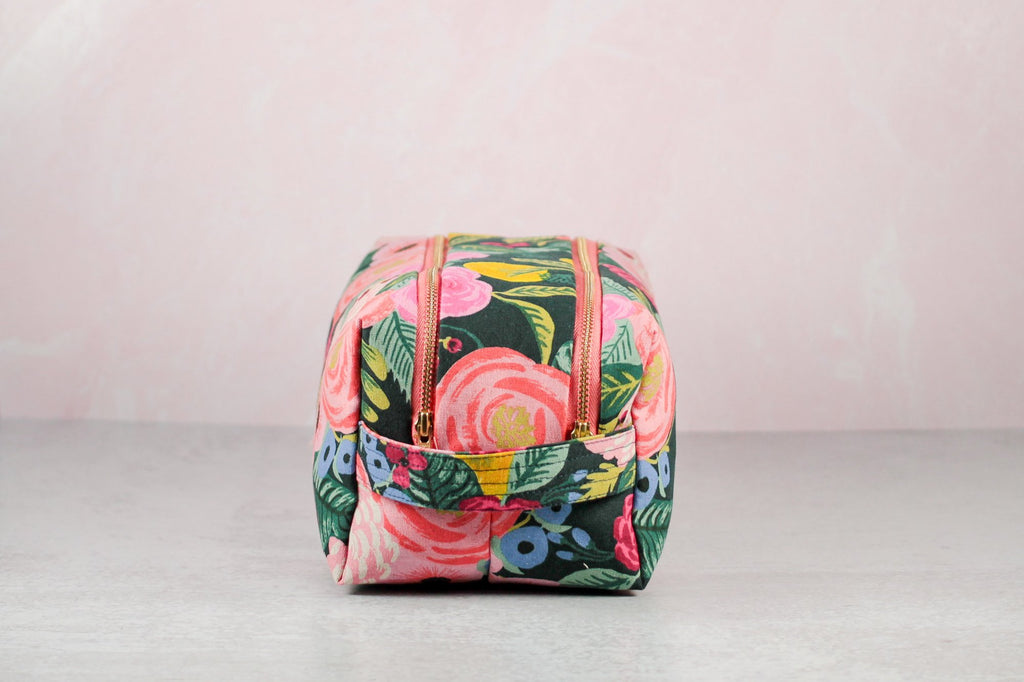 floral double zip toiletry case front view