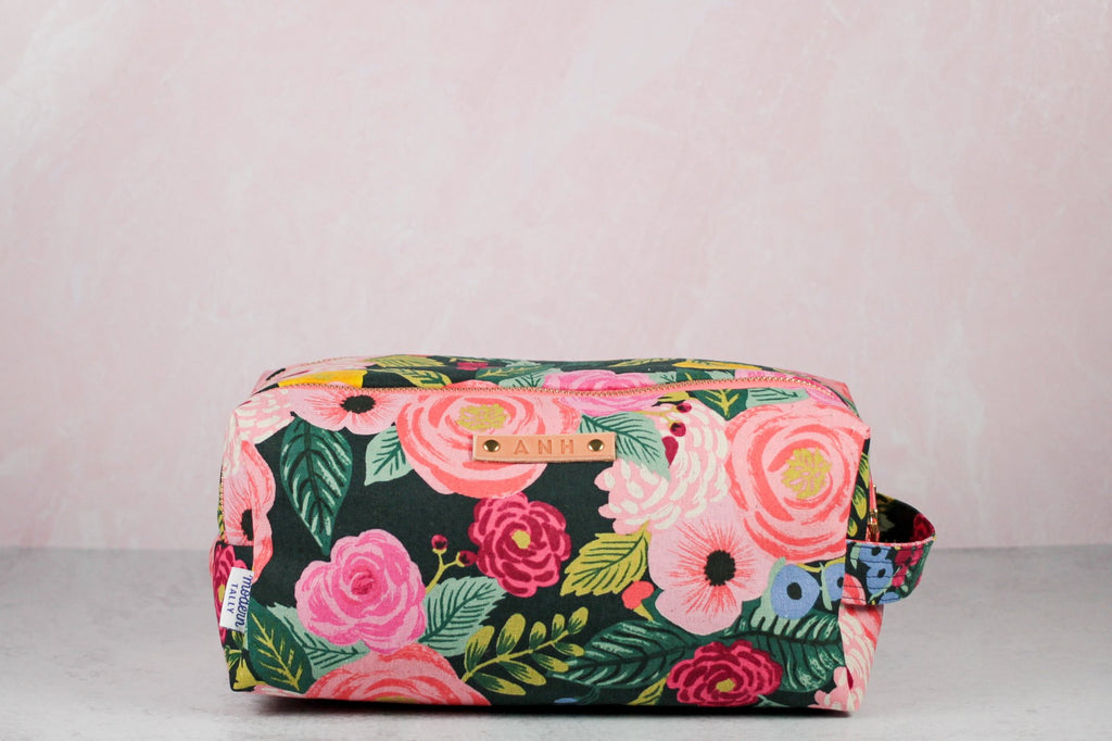 side view of personalized floral double zip toiletry case