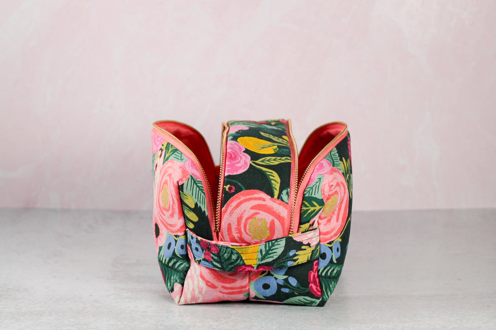floral double zip toiletry case with zippers open