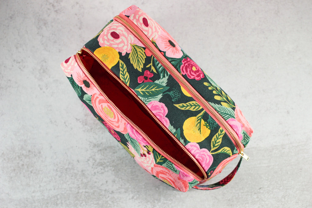 floral double zip toiletry case from above