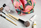 floral double zip toiletry case with makeup