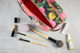 floral double zip toiletry case with makeup and brushes