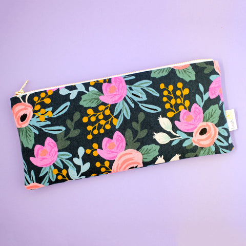 Navy Rosa Pencil Pouch