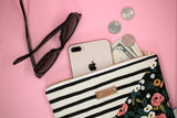 Stripe & Floral Diagonal Clutch