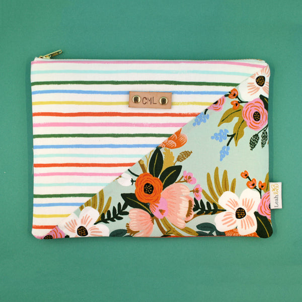 Rainbow Stripe & Floral Diagonal Clutch