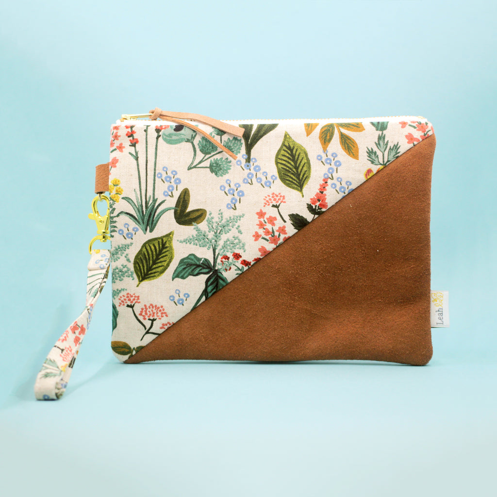 Leather & Floral Wristlet Clutch